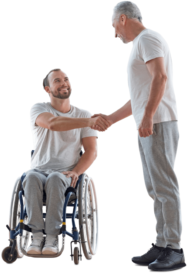 Picture of a man in a wheelchair shaking another man's hand.