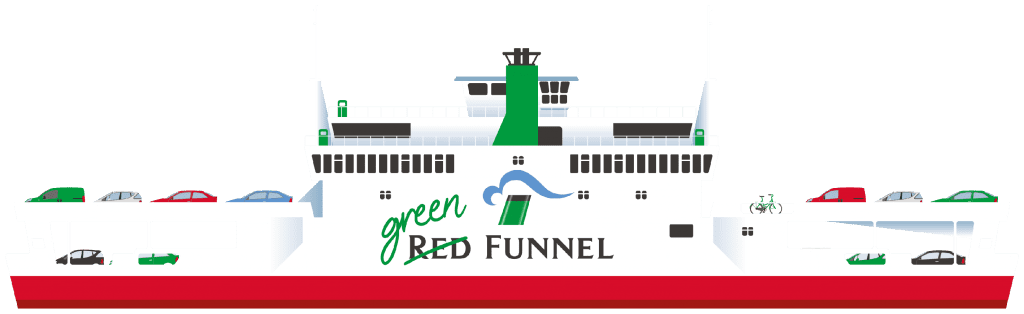 Picture of a red funnel ferry with 'green' written on the logo