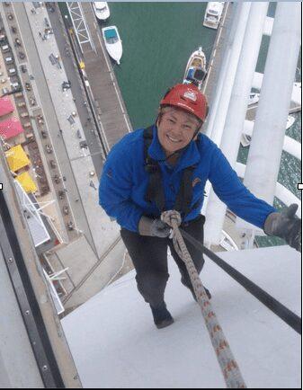 Jan Brookes abseiling down Spinnaker Tower