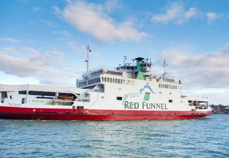 Picture of a Red Funnel ferry at sea