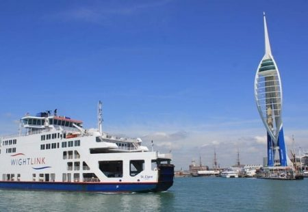 picture of a wightlink ferry next to the spinnaker tower
