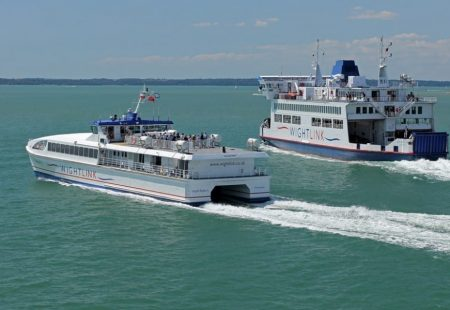 Picture of two wightlink ferries next to each other